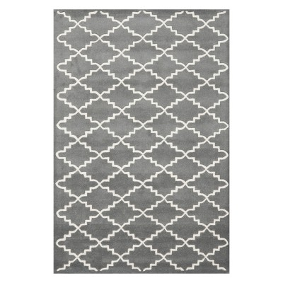 3'X5' Quatrefoil Design Tufted Accent Rug Dark Gray/Ivory - Safavieh