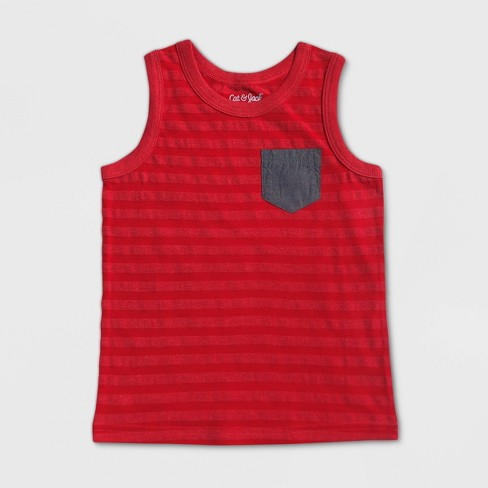 Toddler Boys' Striped Tank Top - Cat & Jack™ Red  - image 1 of 2