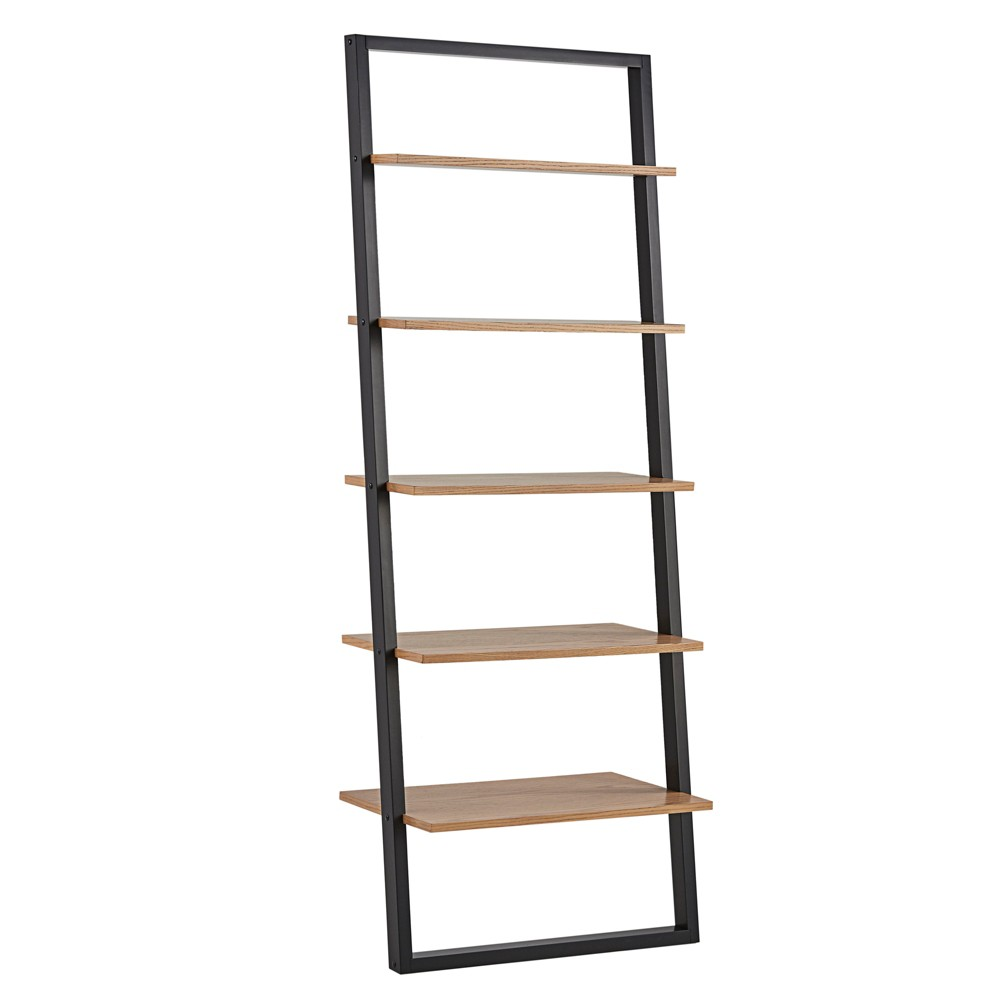 """Image of """"73.6"""""""" Portay Ladder Bookcase Two Tone Black/Oak Brown - Inspire Q"""""""