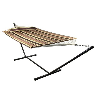 Sunnydaze 2-Person Heavy-Duty Quilted Hammock with Steel Stand - 350 lb Weight Capacity/12' Stand - Sandy Beach
