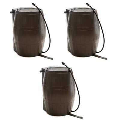 FCMP Outdoor RC4000-BRN 45-Gallon BPA Free Home Rain Water Catcher Barrel (3 Pack)