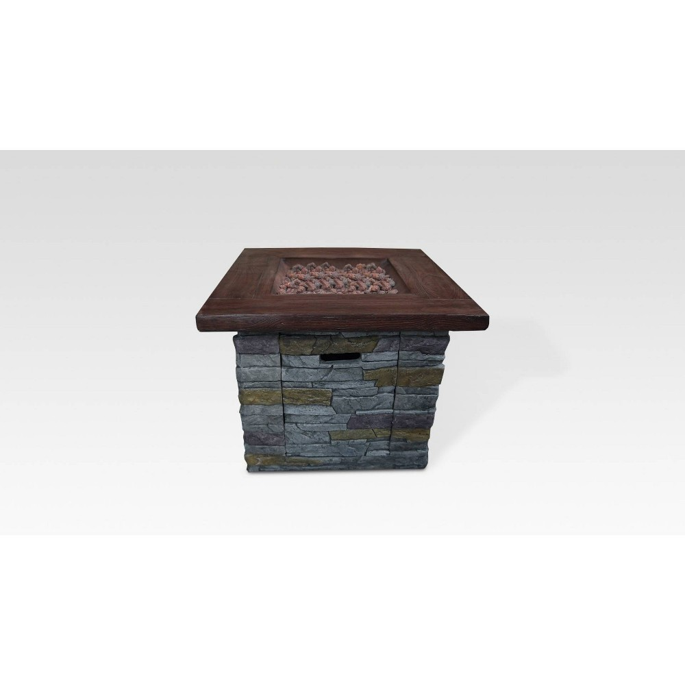 Image of Hamilton Brick Square Outdoor Gas Fire Pit Gray - Summerland Home, Gray Brown