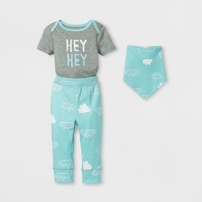 Baby 3pc Cloud Bodysuit, Pants and Bib Set Cloud Island™ - Blue/Gray 0-3M