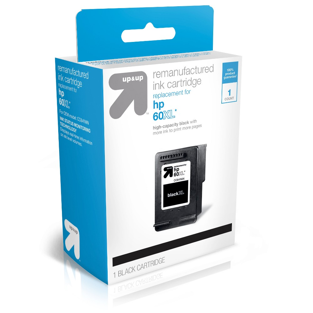 HP 60XL Replacement Black (TARCC641WN) - Up&Up up and up Ink Cartridges = Quality, Savings, Environmentally Friendly. The use of upandup brand Inkjets will Not void your printer warranty so buy with confidence, save money and get a high-quality replacement with a 100 percent satisfaction guarantee! Each original cartridge processed has been specifically filled and then tested, so it works like the original in your printer. up and up helps to protect the environment by keeping used original cartridges out of landfills for remanufacturing; Target recycles so bring your Inkjets back to Target. For support on your cartridge, call 877-925-3700; or go online to www.cartridge-support.com. Color: Black.