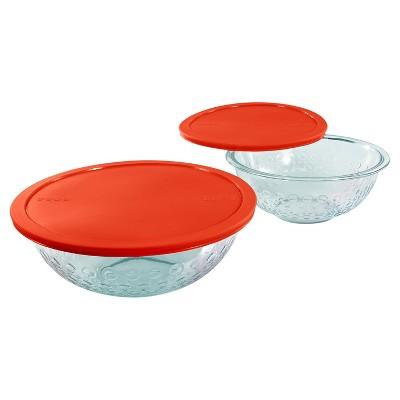 Pyrex 4 Piece Dot Textured Mixing Bowls Set