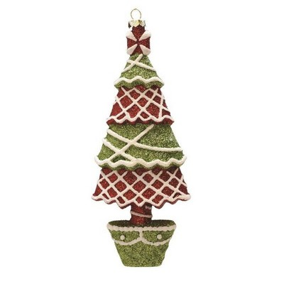 """Northlight 7"""" Red and Green Glitter Shatterproof Christmas Tree Ornament"""