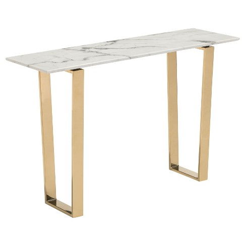 "Modern Faux Marble and Stainless Steel 47"" Rectangular Console Table - Stone/Gold - ZM Home - image 1 of 6"