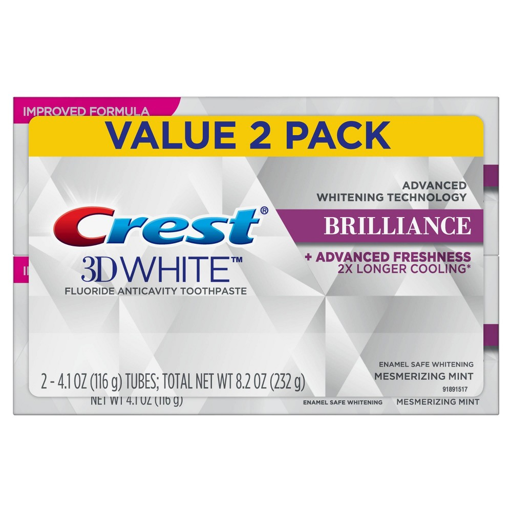 Image of Crest 3D White Brilliance Mesmerizing Mint Toothpaste - 4.1oz/2pk