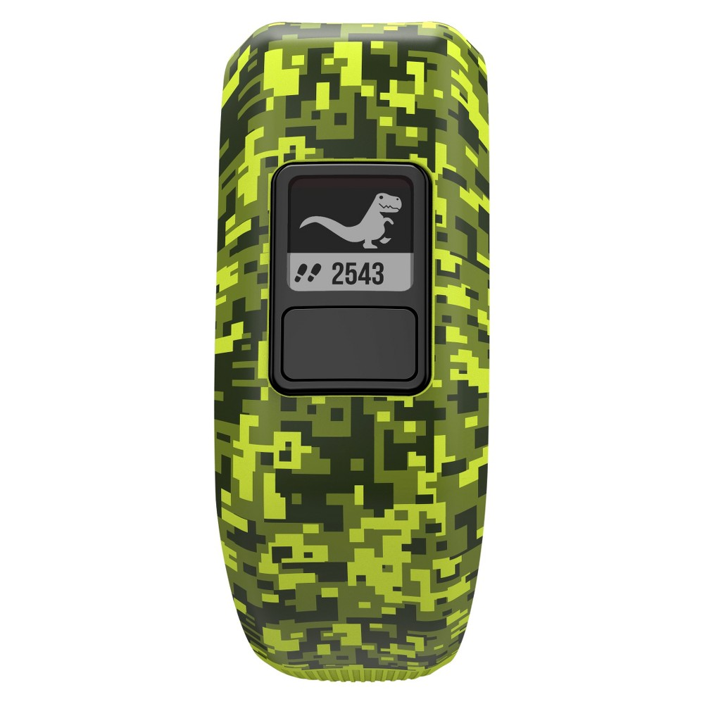Garmin Vívofit Jr. Kids Activity Tracker - Digi Camo Make activity time more fun for your kids with the Garmin Vivofit Jr. Kids Activity Tracker. This slim fitness tracker for kids makes it easy to keep track of their steps, sleep and activity, without adding extra bulk. The tracker syncs with an app that kids and parents will both love - kids will have a blast taking on challenges and adventures, and parents will appreciate the convenience of assigning chores and rewards. Color: Digi Camo.