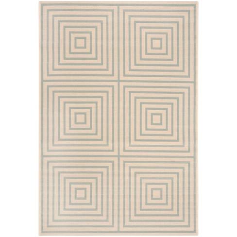 5 1 X7 6 Geometric Loomed Area Rug Cream Aqua Safavieh Target