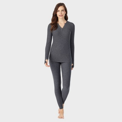 Warm Essentials by Cuddl Duds Women's Soft Ribbed Thermal Henley Shirt - Charcoal Heather