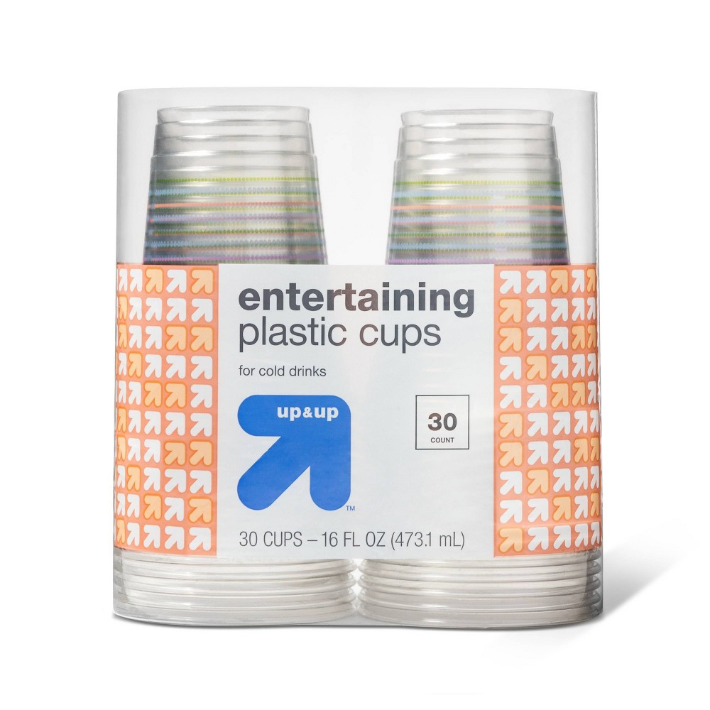 Spring Seasonal Printed Plastic Clear Cup Disposable Drinkware 30ct - Up&Up, Multi-Colored