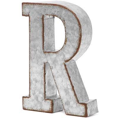 Bright Creations Galvanized Metal Silver Decorative Letters R Alphabet Sign for Home Wall Decor