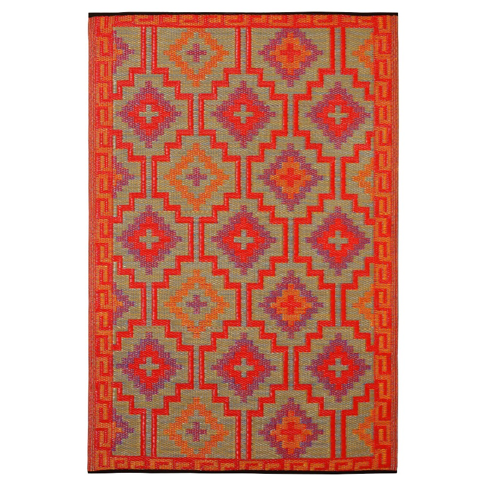 Image of Fab Habitat Outdoor Rug (3' x 5') - Lhasa Orange/Violet, Size: 3'X5'