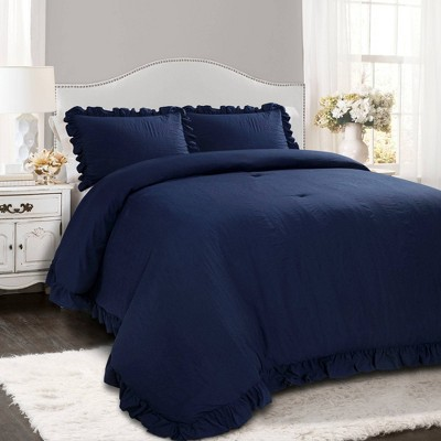 Lush Decor King 3pc Reyna Comforter & Sham Set Navy