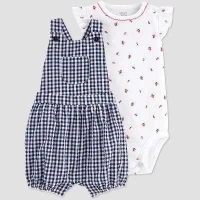 Baby Girls' Plaid Shortall Top & Bottom Set - Just One You® made by carter's - Blue 9M