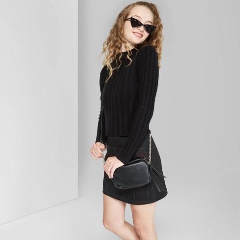 Women's Long Sleeve Mock Turtleneck Sweater - Wild Fable™ Black - image 1 of 3
