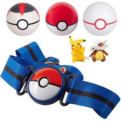 Jazwares Pokemon Clip 'N' Go Belt Set with 3 Poke Balls & 2 Figures - Includes Pikachu and Cubone