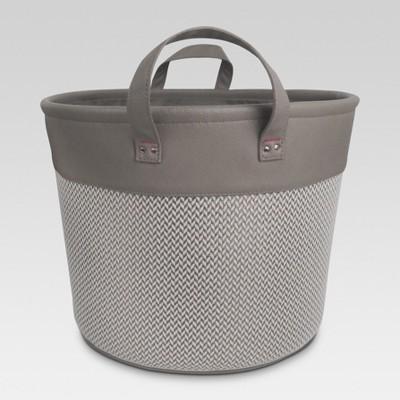 Round Fabric Bin with Handles - Gray Chevron - Threshold™