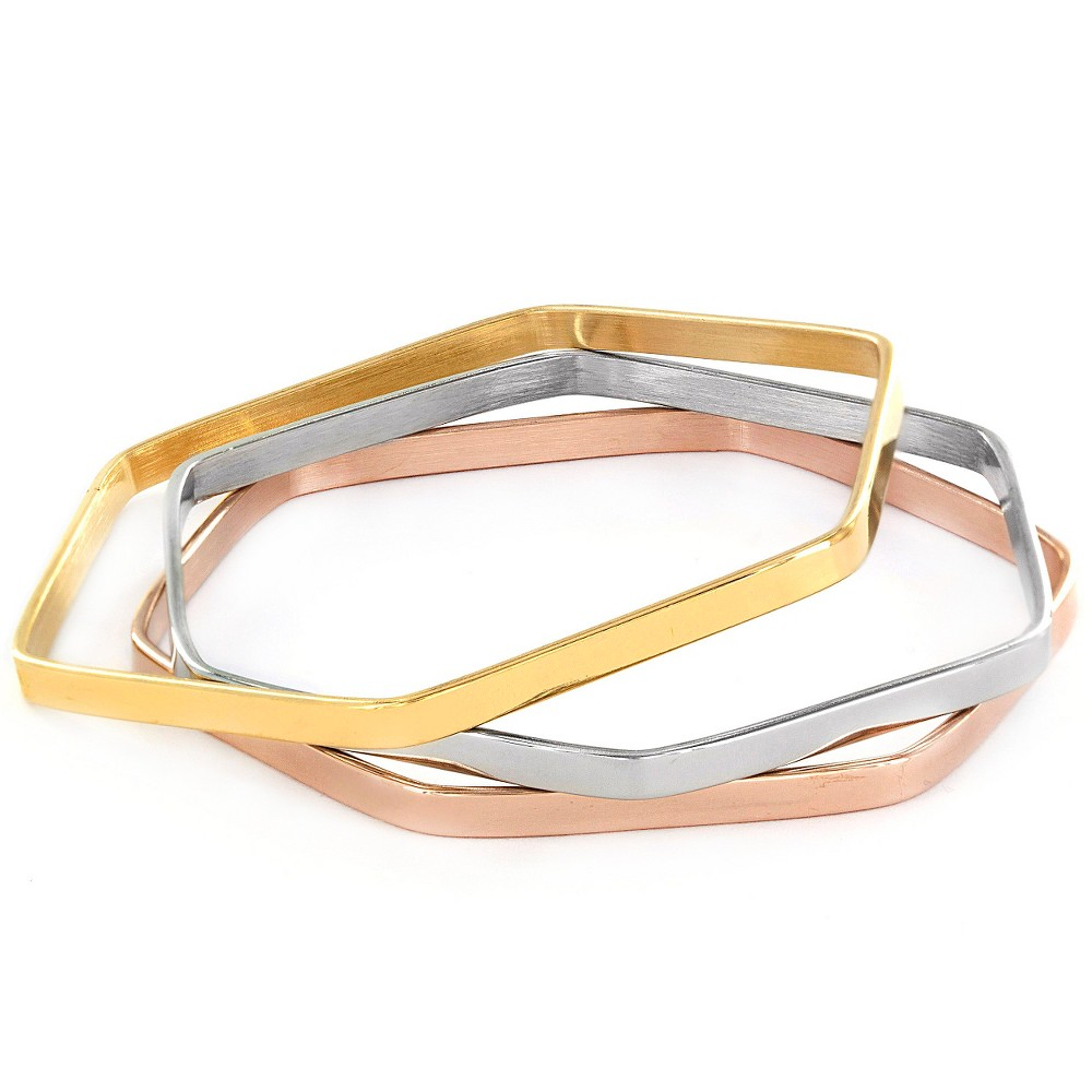 Image of ELYA Set of 3 Hexagon Bangle Bracelet Set, Women's, Size: Small, Gold/Pink/Silver