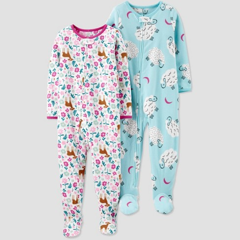 Toddler Girls' 2pk Floral Deer & Sheep Fleece Footed Pajama - Just One You® made by carter's Pink/Blue - image 1 of 1