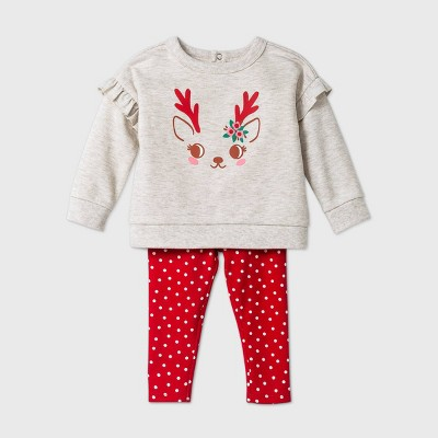 Baby Girls' Reindeer Top & Bottom Set - Cat & Jack™ Oatmeal Heather 6-9M