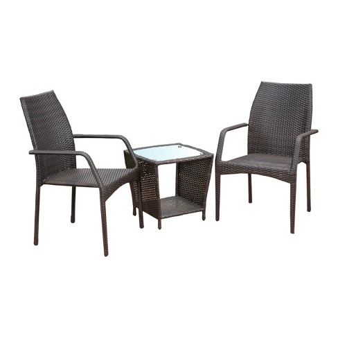 Cookton 3pc Wicker Chat Set - Multibrown - Christopher Knight Home - image 1 of 4