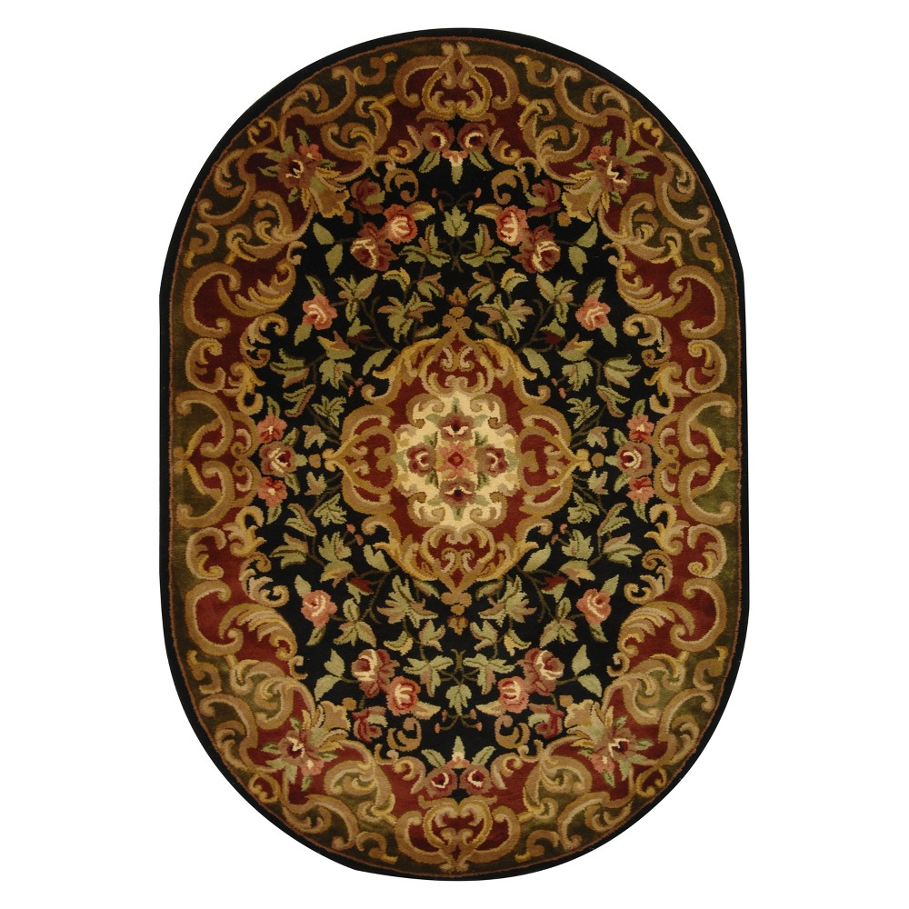 Black Green Abstract Tufted Oval Area Rug 4 39 6 34 x6 39 6 34 Oval Safavieh