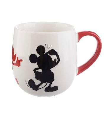 Disney Mickey Mouse & Friends Mickey Silhouette Porcelain Coffee Mug Red Stripe 16oz - Formation Brands LLC