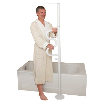 Stander Security Pole and  Curve Grab Bar - Iceberg White