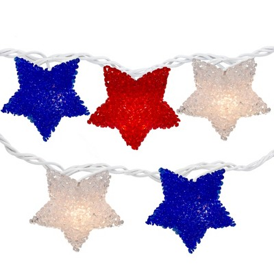 Northlight 10ct Patriotic 4th of July Star Shaped Outdoor String Lights - 6' White Wire