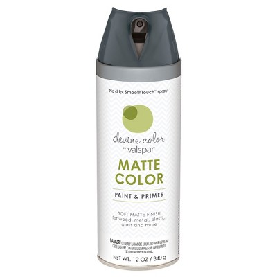 Devine Color Spray Paint by Valspar - Devine Pepper, Dark Gray Matte Finish - 12 oz Aerosol