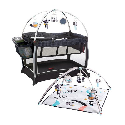 Tiny Love Black and White 6-in-1 Here I Grow Deluxe Baby Play Yard with Bassinet, Play Mat, Toys, and Removable Changer, Magical Night Tales