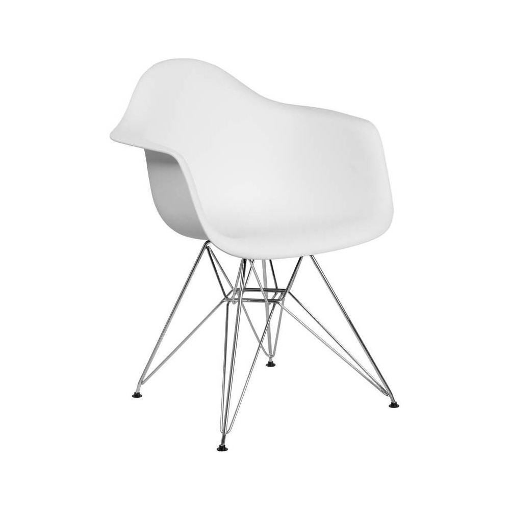Image of Alonza Series Plastic Chair with Arms and Chrome Base White - Riverstone Furniture Collection