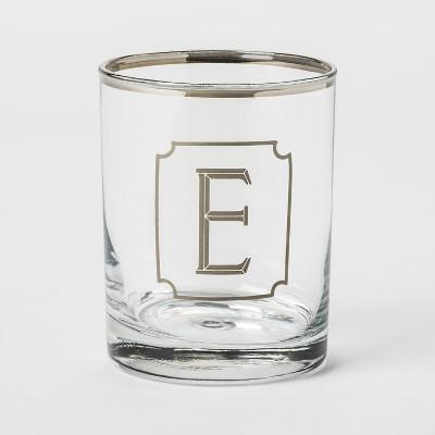 13.3oz Monogram Double Old-Fashioned Glass E - Threshold™
