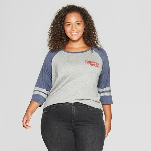 918561c017d4c Women s Stranger Things 3 4 Sleeve Plus Size 2 Characters Raglan Graphic  T-Shirt (Juniors ) Gray Navy 1X
