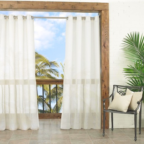 Summerland Key Sheer Indoor Outdoor Curtain Panel Ivory 52 X95
