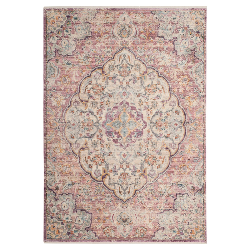 Cream/Rose (Ivory/Pink) Medallion Loomed Area Rug 6'X9' - Safavieh