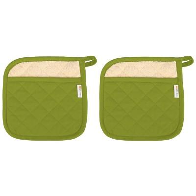"2pk 9""x9"" Herringbone Pot Holder Green - MUkitchen"