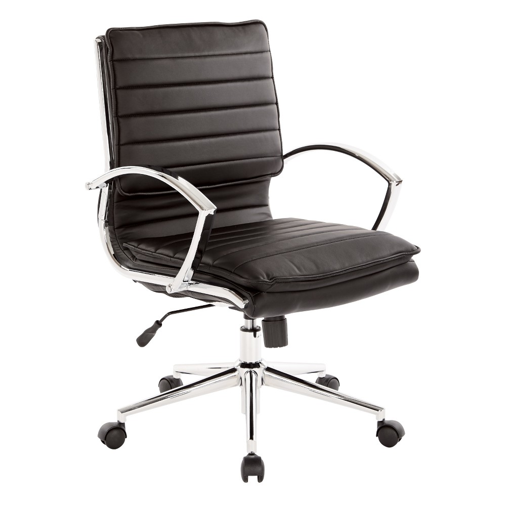 Mid Back Manager's Faux Leather Chair With Chrome Base Black - Osp Designs