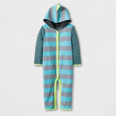 Baby Boys' Stripe Dino Romper - Cloud Island™ Turquoise 6-9M