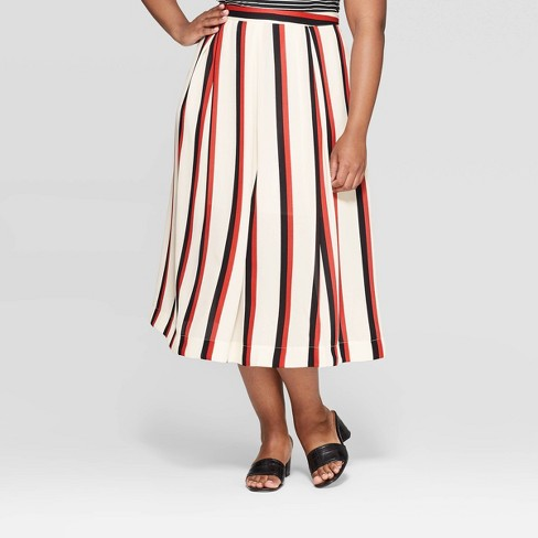 0b74f4d951 Women's Plus Size Striped Mid-Rise Safari Paneled Midi Skirt - Who What  Wear™ White : Target