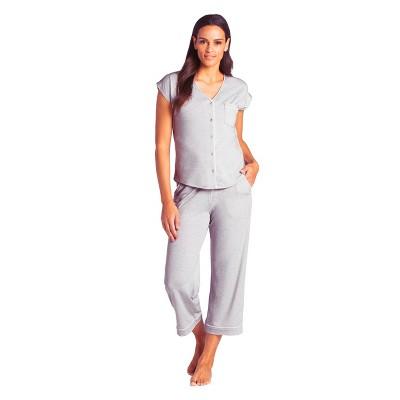 Softies Women's Cap Sleeve Capri-Length PJ Set with Contrast Piping