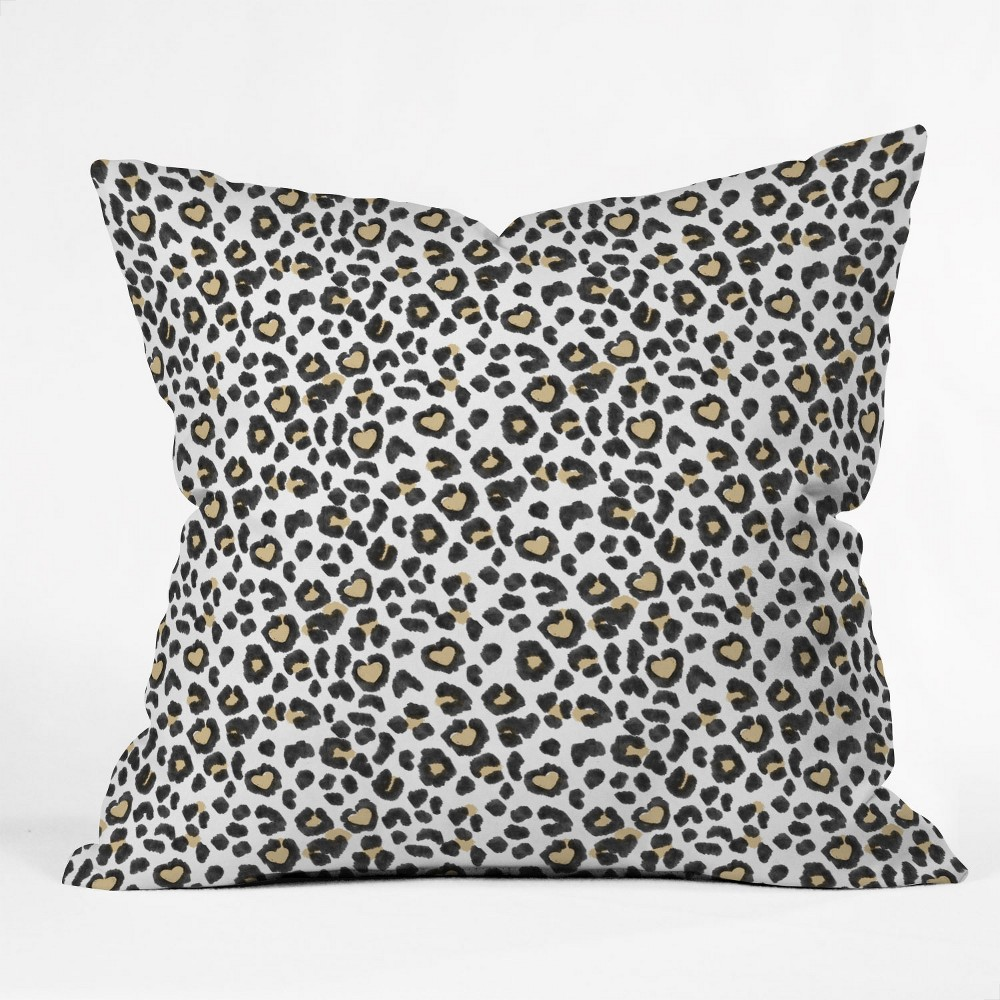 Dash and Ash Leopard Heart Square Throw Pillow Black/White - Deny Designs Cheap