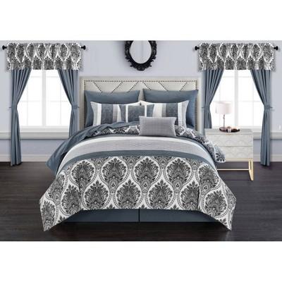Chic Home Queen 20pc Katniss Bed in a Bag Comforter Set Gray
