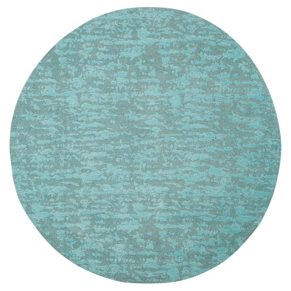 Blue/Turquoise Spacedye Design Woven Round Area Rug 6' - Safavieh
