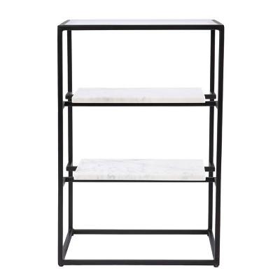 Ghullrio Glass Top End Table with Storage Black/White - Aiden Lane