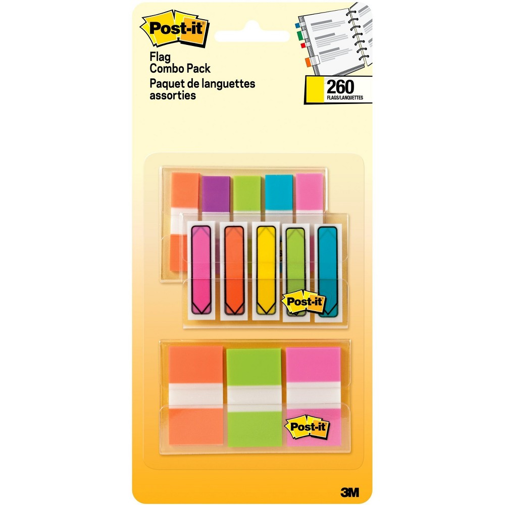 Post-It Flags Combo Pack, 260ct - Multicolor, Multi-Colored