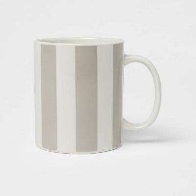 15oz Stoneware Stripes Mug Gray - Room Essentials™