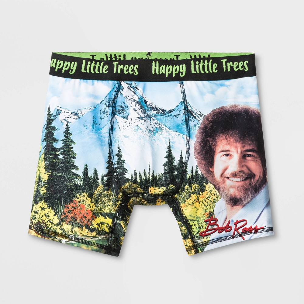 Image of Men's Bob Ross Boxer Briefs - Black L, Size: Large
